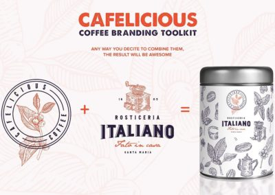 Cafelicious - Coffee Logo Kit Coffee Elements Hand Drawn