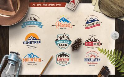 Mountain Vintage Badges Color