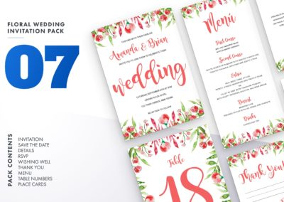 Flower Wedding Invitation Bundle Wedding Suite Bundle