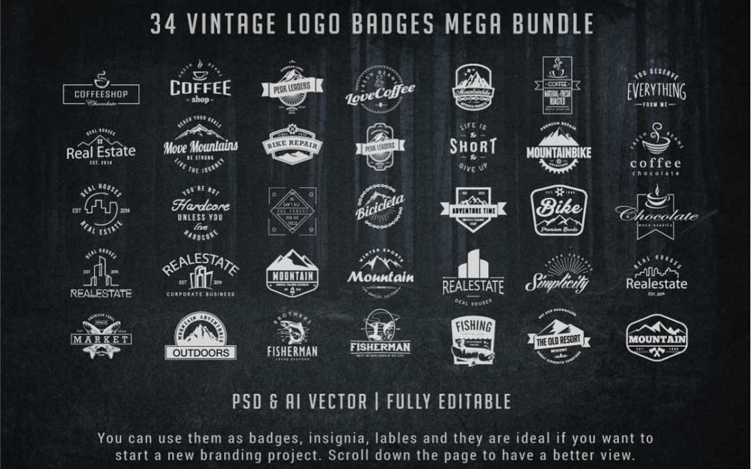Vintage Logo Badges Bundle
