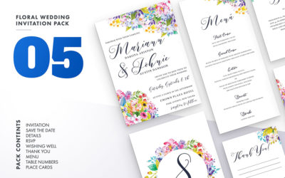 Floral Wedding Invitation Set Vol.5
