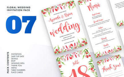 Floral Wedding Invitation Set Vol.7