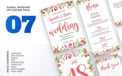 Floral Wedding Invitation Set Vol.7