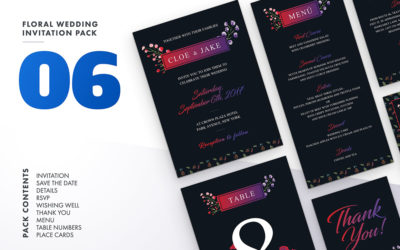 Floral Wedding Invitation Set Vol.6