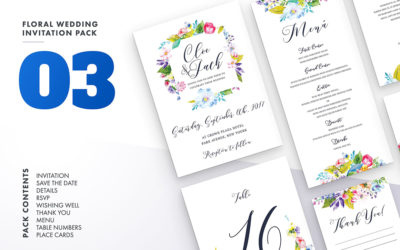 Floral Wedding Invitation Set Vol.3