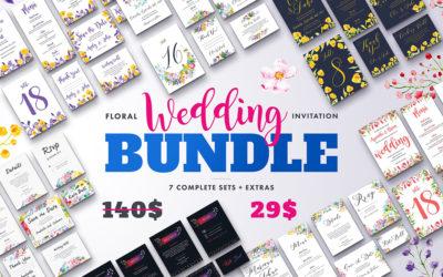 Floral Wedding Invitation Bundle