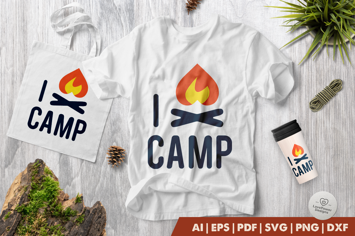 Camping SVG | I Love Camp SVG | Camp SVG | Camp Fire SVG