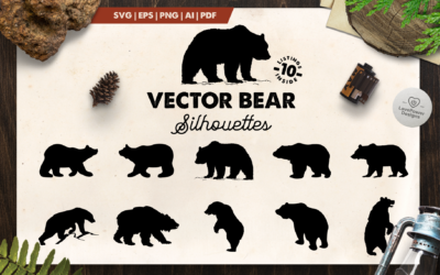 Bear Silhouette | 10 Vector Bear Silhouettes | Bear SVG