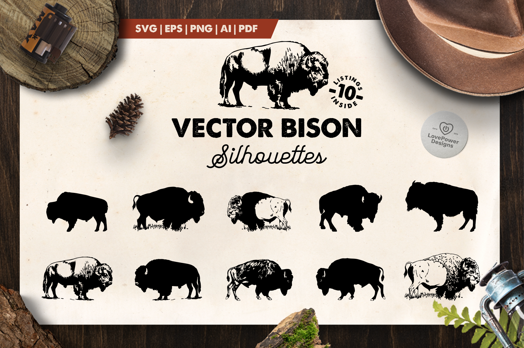 Bison Silhouette | 10 Vector Bison Silhouettes | Bison SVG