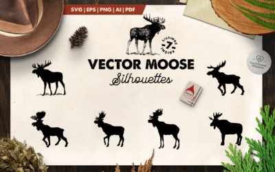 Moose Silhouette | 7 Vector Moose Silhouettes | Moose SVG