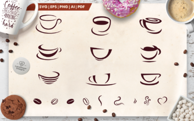 Coffee SVG | Coffee Cup Silhouette SVG | Coffee Beans SVG