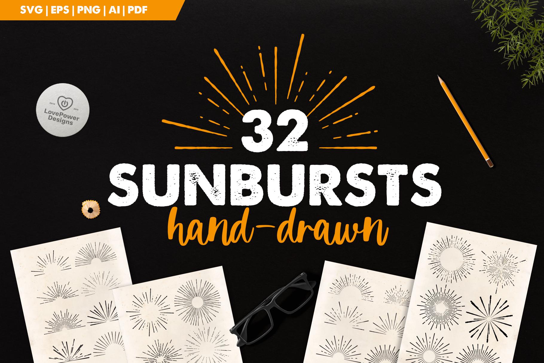 Sunburst Bundle | 32 Sunbursts SVG | Retro Sunbursts