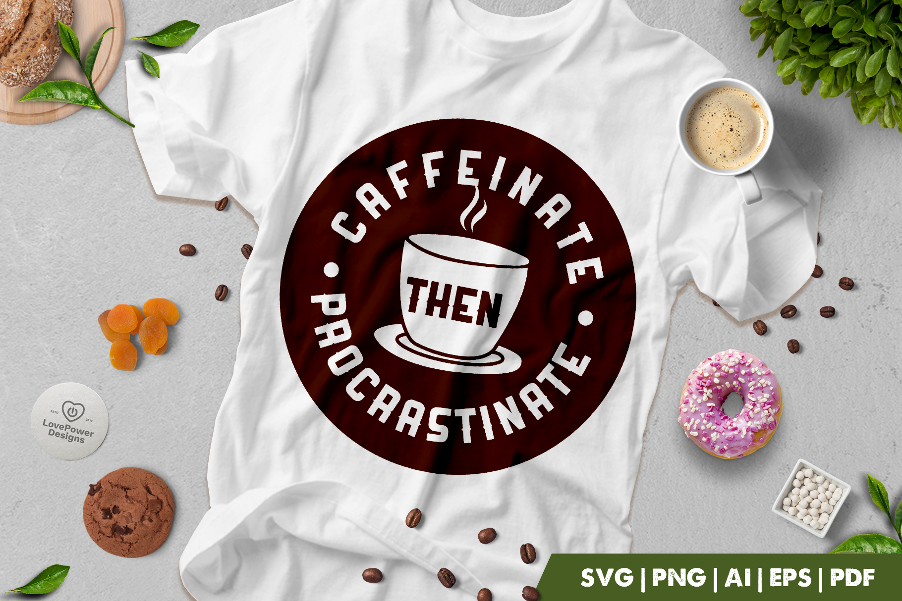Coffee SVG | Caffeinate Then Procrastinate | Coffee Quotes