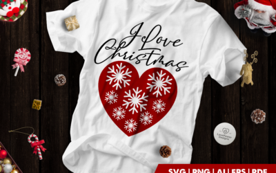 Christmas SVG | I love Christmas | Snowflake Heart SVG