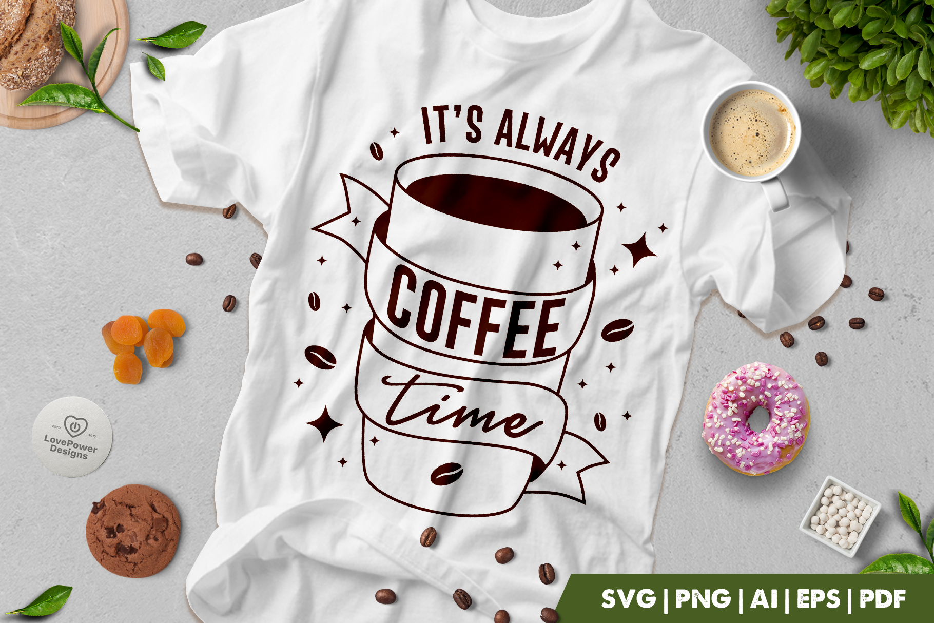 Coffee SVG | It's Always Coffee Time SVG | Coffee Quote SVG