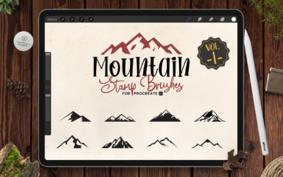 Procreate Stamp Brushes | 9 Mountain Brushes for Procreate Vol1