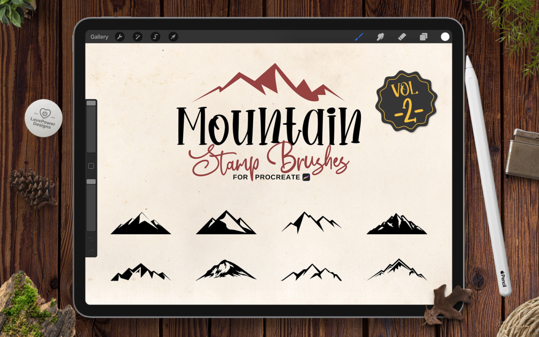 Procreate Stamp Brushes | 9 Mountain Brushes for Procreate Vol2