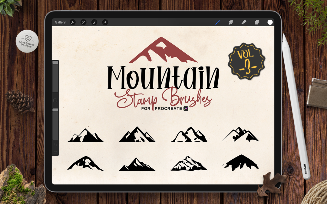 Procreate Stamp Brushes | 9 Mountain Brushes for Procreate Vol3