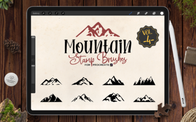 Procreate Stamp Brushes | 9 Mountain Brushes for Procreate Vol4