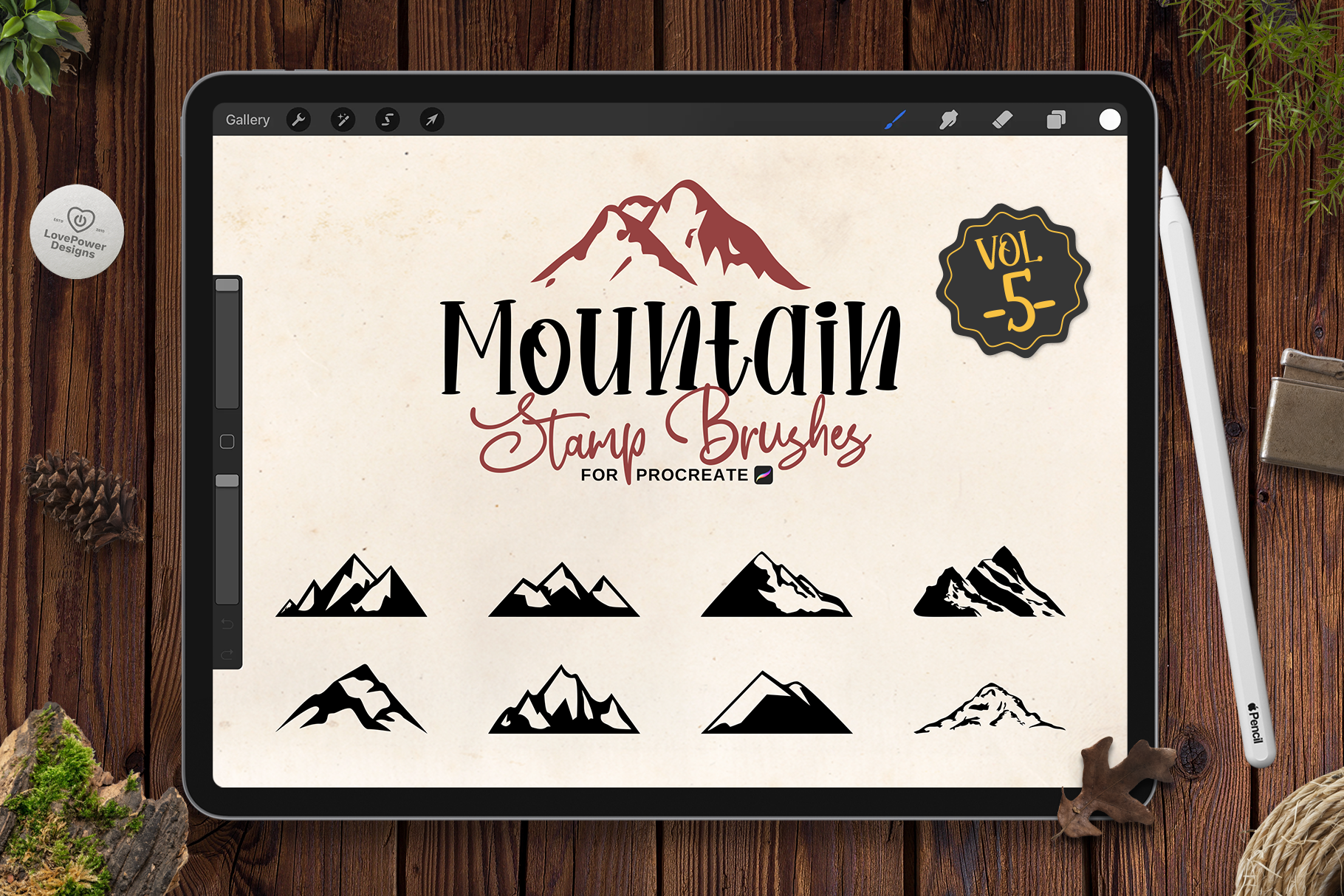 Procreate Stamp Brushes | 9 Mountain Brushes for Procreate Vol5