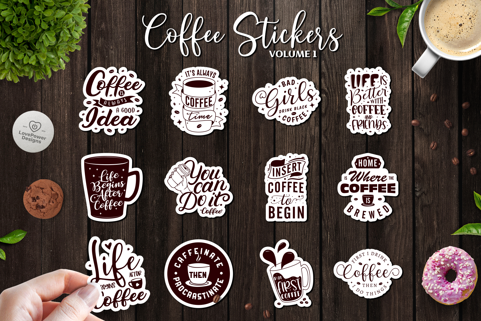 Sticker Bundle | 12 Coffee Stickers with White Border Vol1