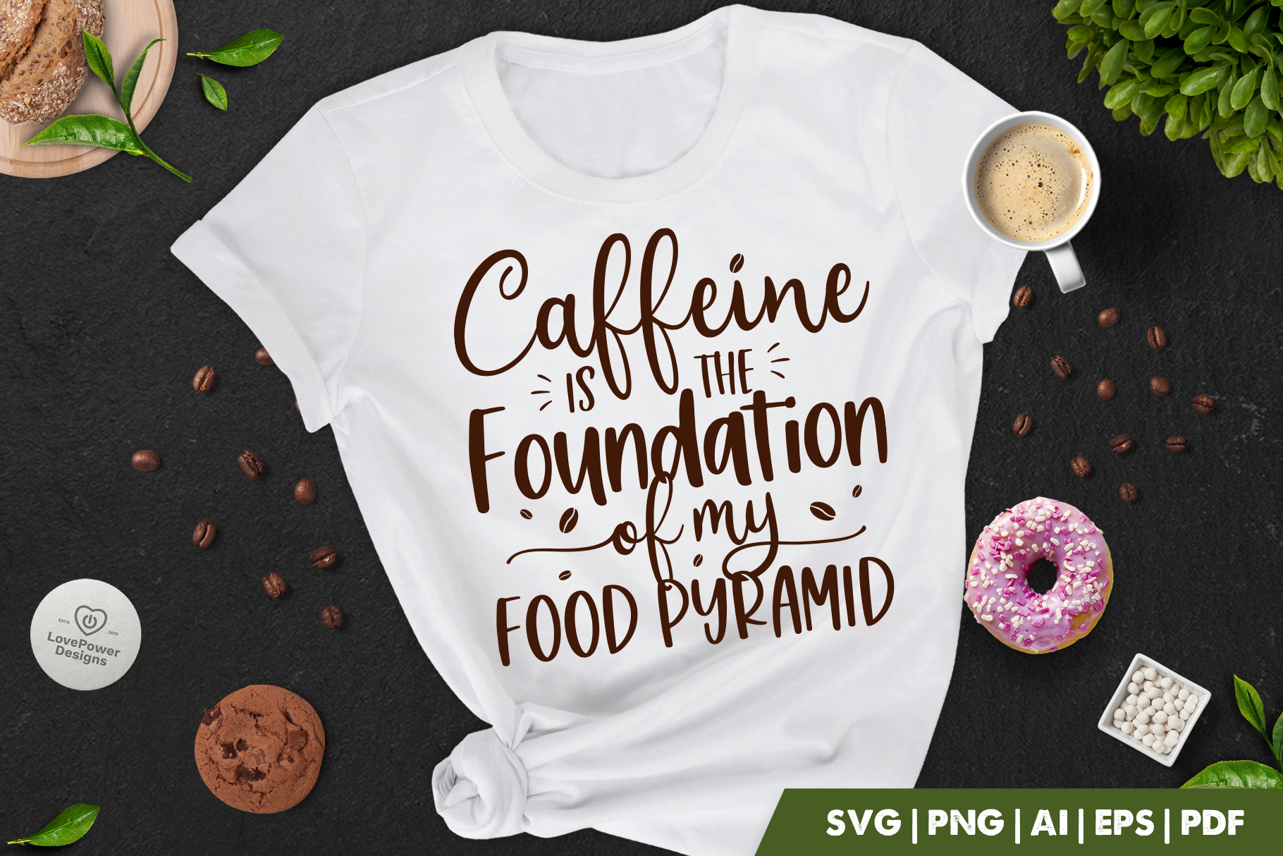 Coffee SVG | Caffeine Is The Foundation of My Food Pyramid | Coffee Quote SVG