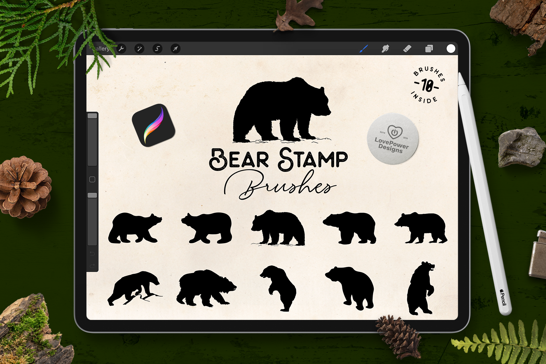 Procreate Brushes | Bear Stamp Brushes for Procreate