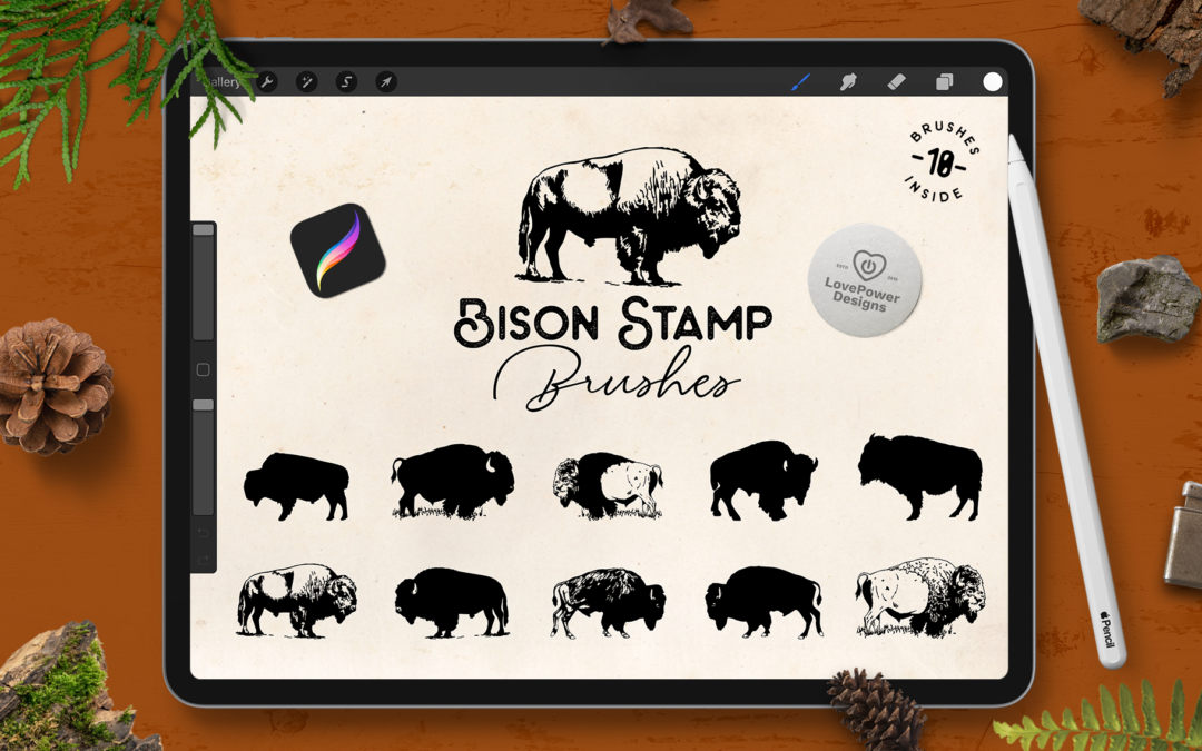 Procreate Brushes   Bison Stamp Brushes for Procreate