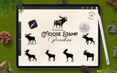 Procreate Brushes | Moose Stamp Brushes for Procreate