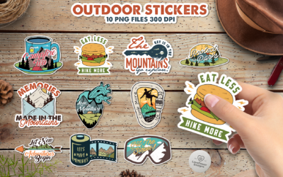 Outdoor Stickers Bundle | Adventure Stickers | Print & Cut