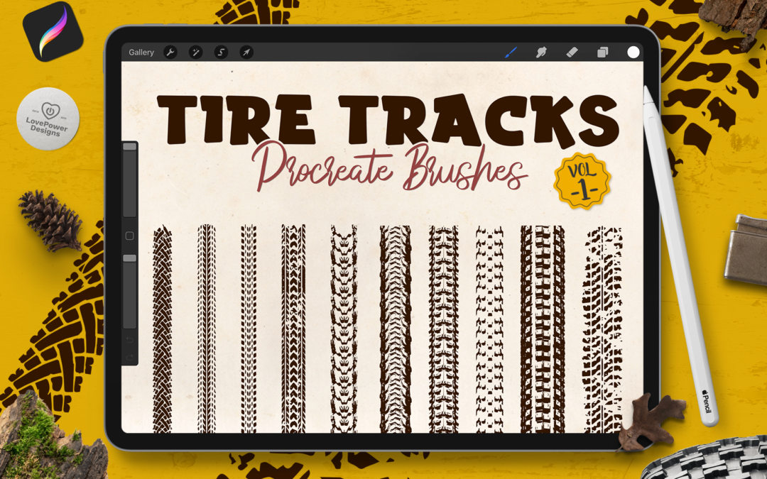 Procreate Stamp Brushes | Tire Track Brushes for Procreate Vol1