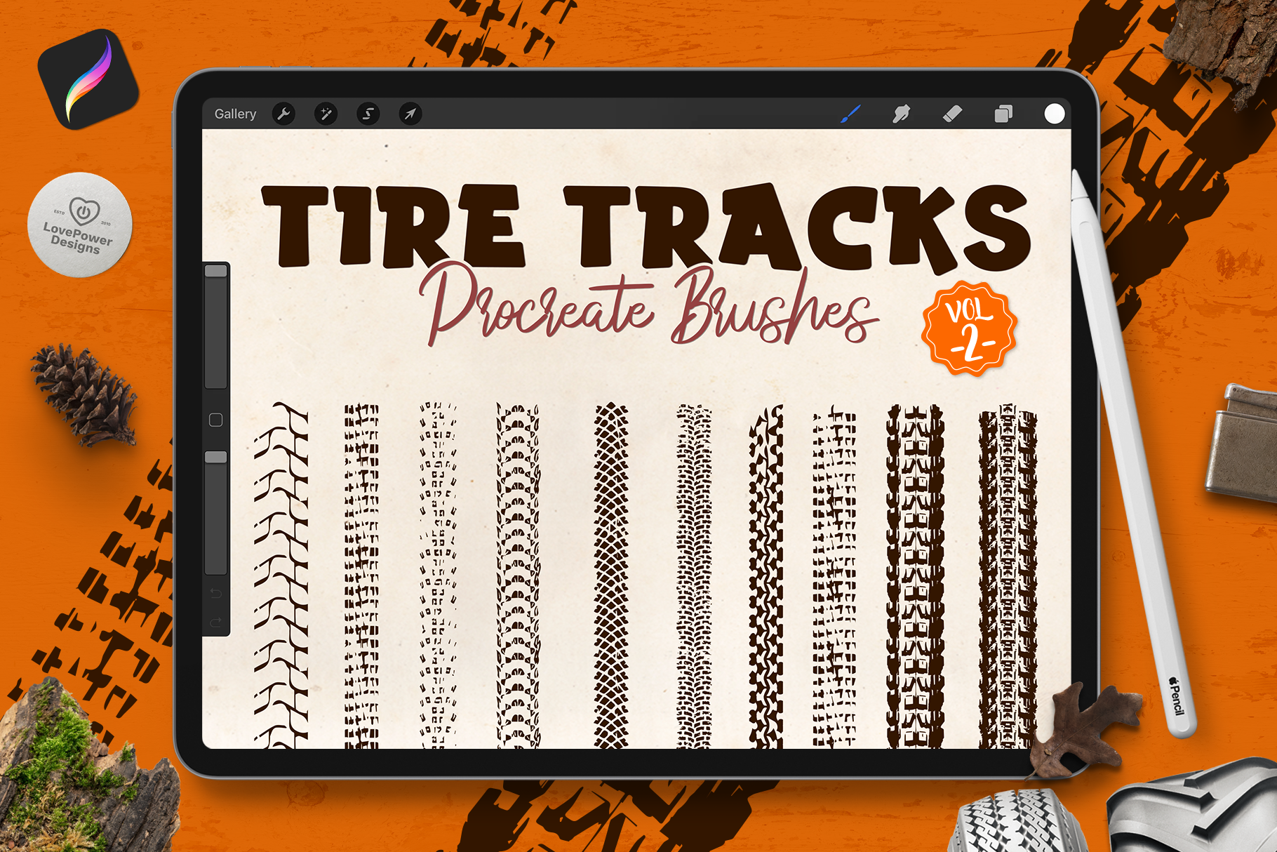 Procreate Stamp Brushes | Tire Track Brushes for Procreate Vol2